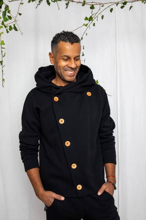 19-160 MAN HOODIE SECRET MONK / black