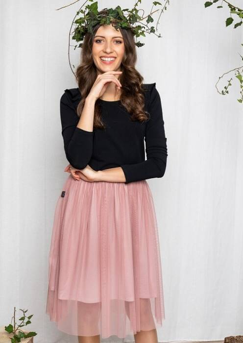 19-152 WOMAN TULLE DRESS / BLACK & SOFT ROSE