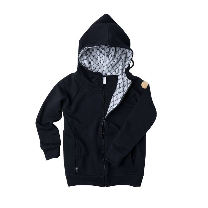 109-20 HOODIE ZIP / black & dragon scales