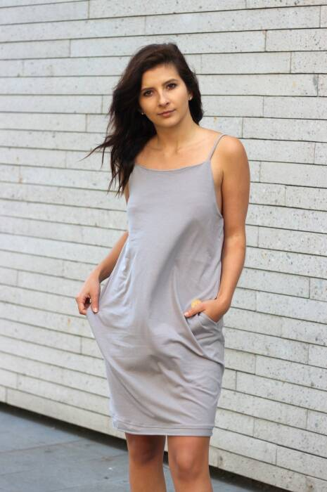 19-147 SUMMER DRESS with thin straps / GRAY
