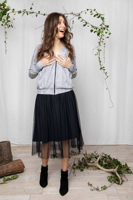 19-153 WOMAN TULLE SKIRT  / BLACK
